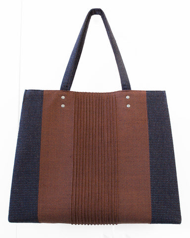 Burnt Orange and Blue Wool Tote