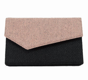 Pink and Gray Wool Clutch