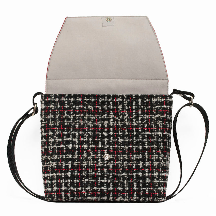 Red Herringbone and Plaid Boucle Crossbody Bag