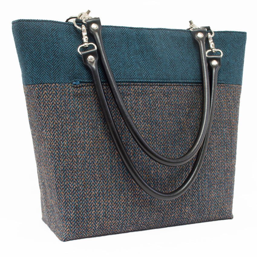 Teal Herringbone Wool Handbag