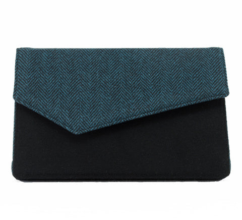 Teal Herringbone and Black Wool Clutch