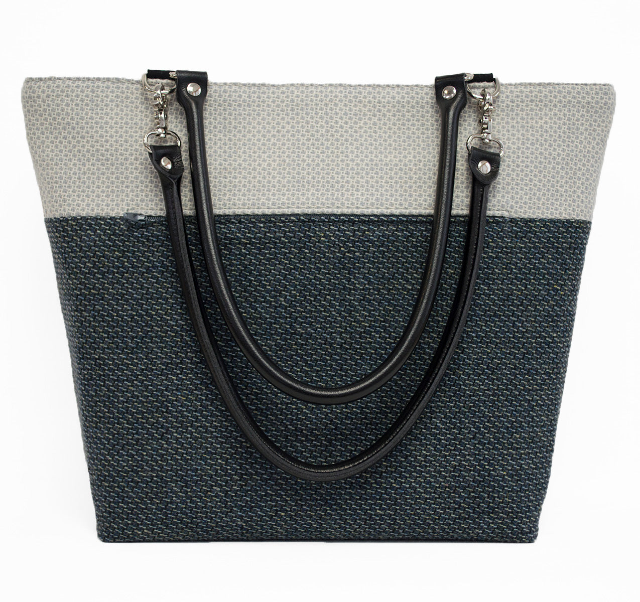 White and Blue Gray Honeycomb Wool Shoulder Bag
