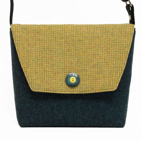 So Sweet Yellow and Teal Wool Crossbody Bag