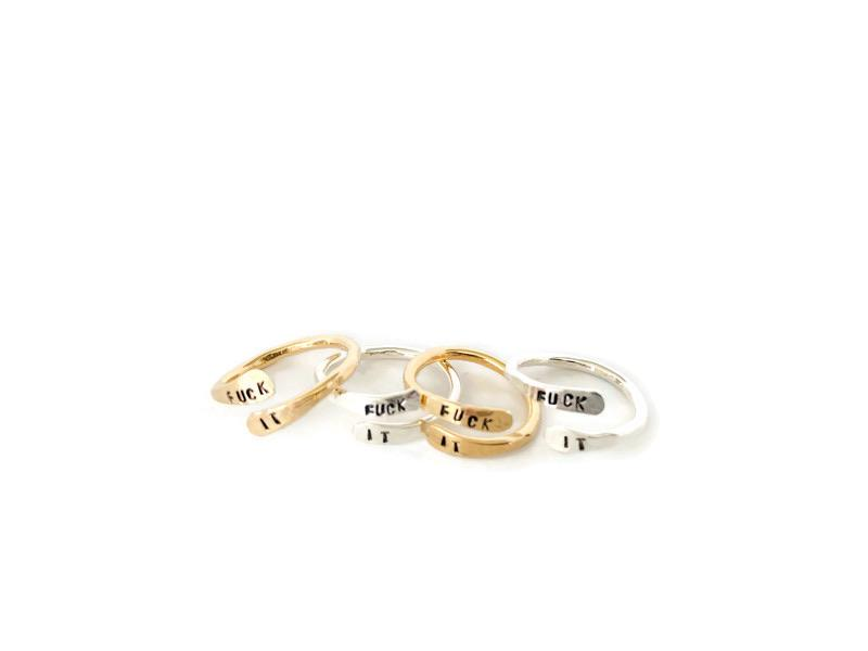 Gold filled and silver dainty fuck it wrap ring. Slightly adjustable jewelry for fingers