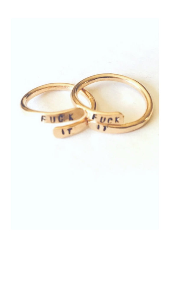 14k gold wrap rings with phrase fuck it