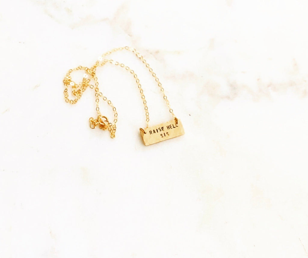 "Mini ""Raise Hell, Sis"" Bar Necklace"