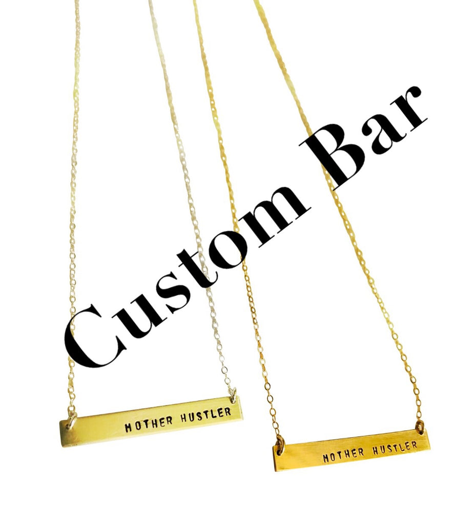 CUSTOM Bar Necklace, Sterling, Gold fill