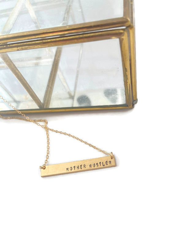 Mother Hustler Bar Necklace