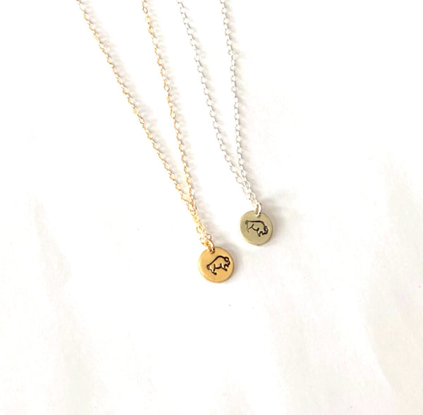 Buffalo Circle Charm Necklace
