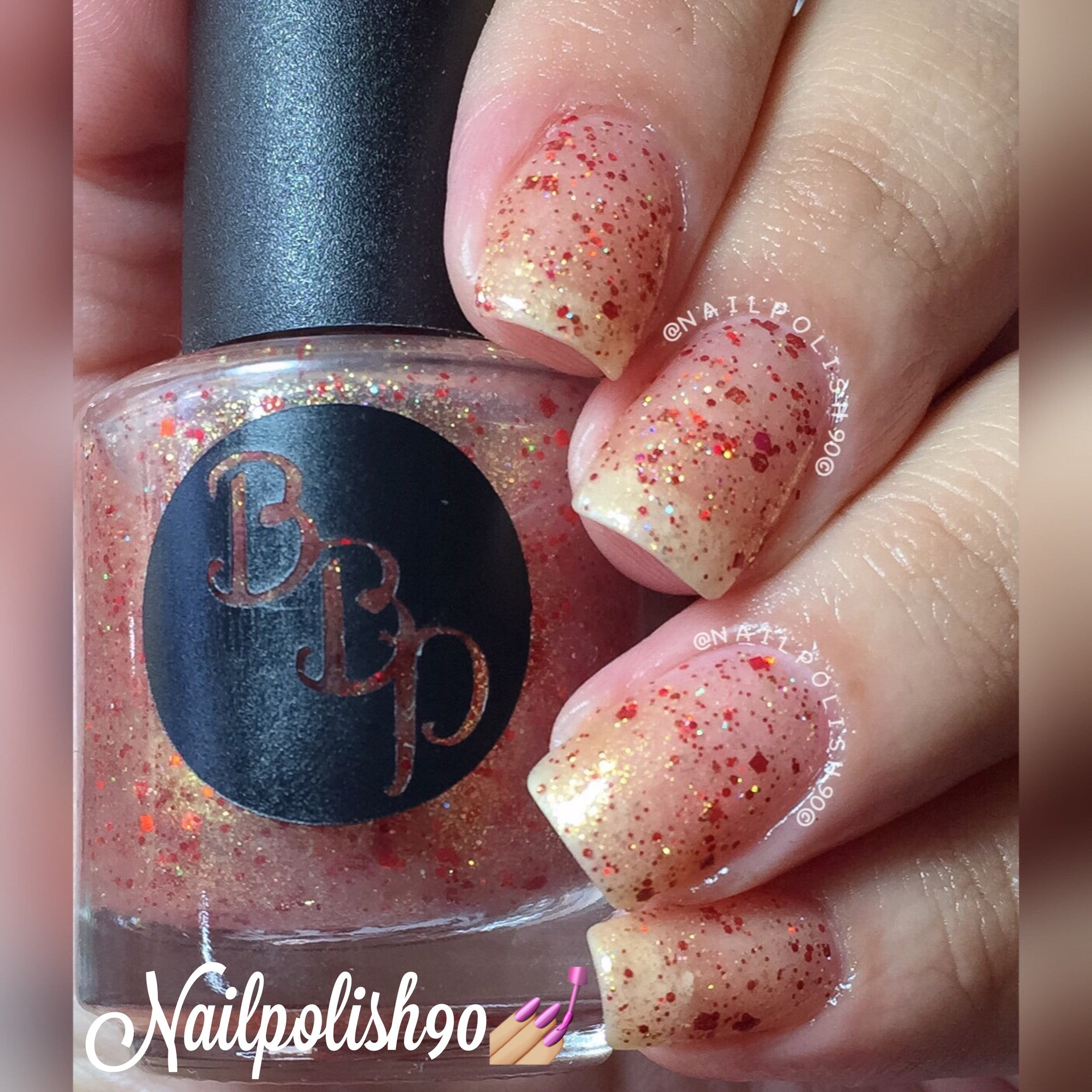 red gold glitter bomb nail polish