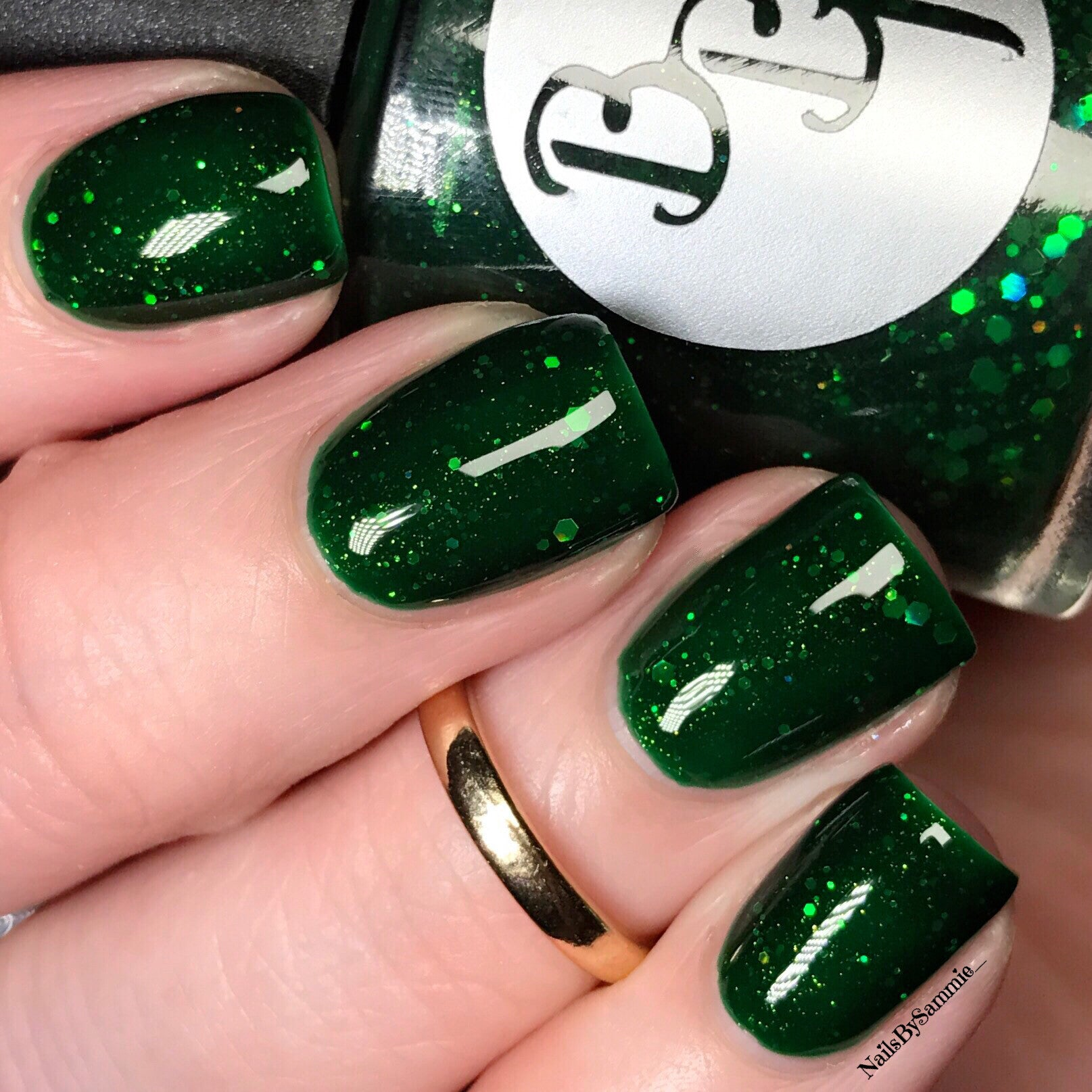 Emerald Green Jelly Nail Polish with Gold Flakies