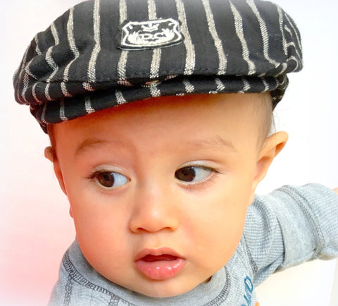 Black Stripe English Cabbie Cap for Babies & Toddlers