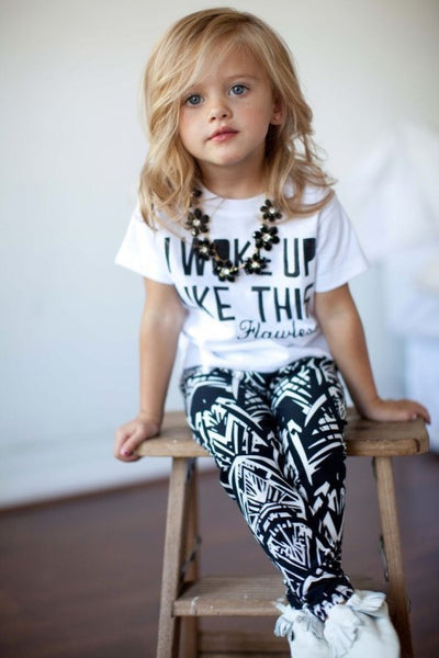 Black and White Geometric Print Leggings | RockaBye Babe