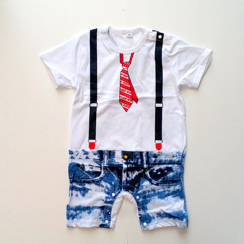 "Organic Cotton ""Denim Shorts & Skinny Tie"" Baby Romper - White"