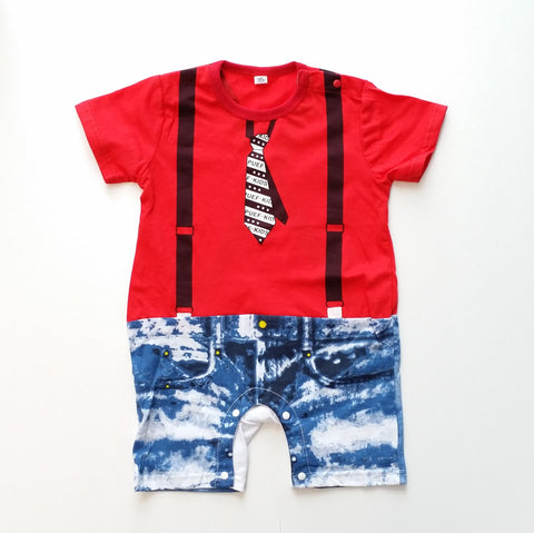 "Organic Cotton ""Denim Shorts & Skinny Tie"" Baby Romper - Red"
