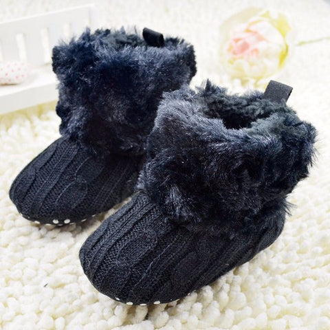 Cotton Knitted Fur Baby Booties