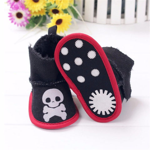 Skull Print Soft Sole Black Baby Booties