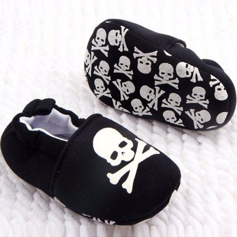 Slip-On Black Baby Crib Shoes with White Skull Accent