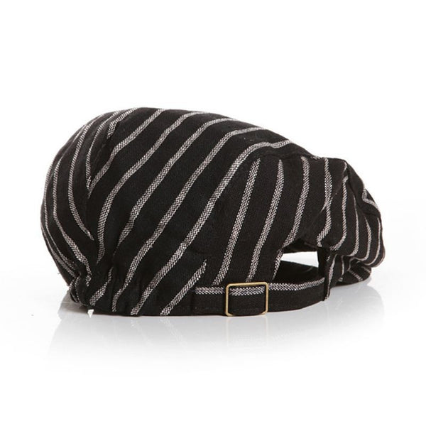 Black Stripe English Cabbie Cap for Babies and Toddlers