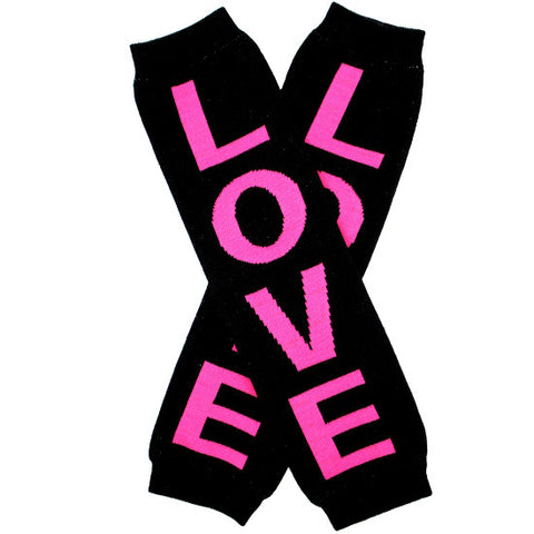 "Black and Hot Pink ""Love"" Baby Leg Warmers"
