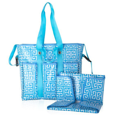 Blue Geo Print Diaper Bag with Matching Changing Pad