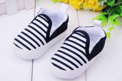 Navy Blue Stripe Canvas Soft Sole Baby Crib Shoes