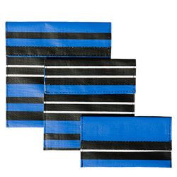 Set of 3 Reusable Snack Bags - Blue Stripe