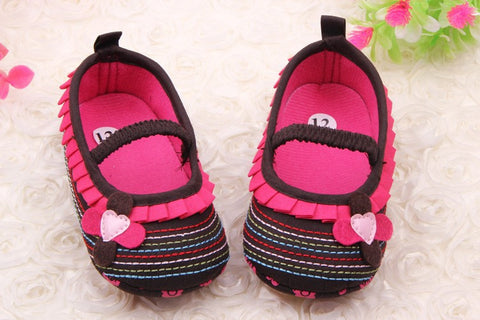 Brown Multi-Stripe Mary Jane Style Soft Sole Baby Crib Shoes