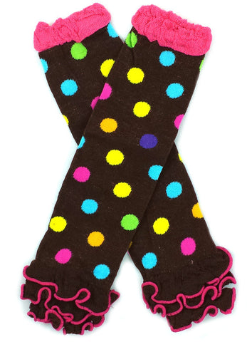Dark Brown with Rainbow Polkadot Ruffled Baby Leg Warmers