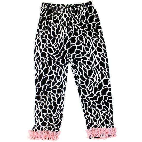 Black and White Giraffe Print Ruffled Baby Leggings