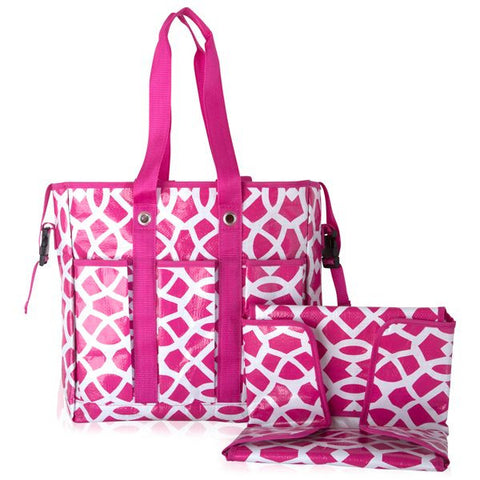 Pink Geo Print Diaper Bag with Matching Changing Pad