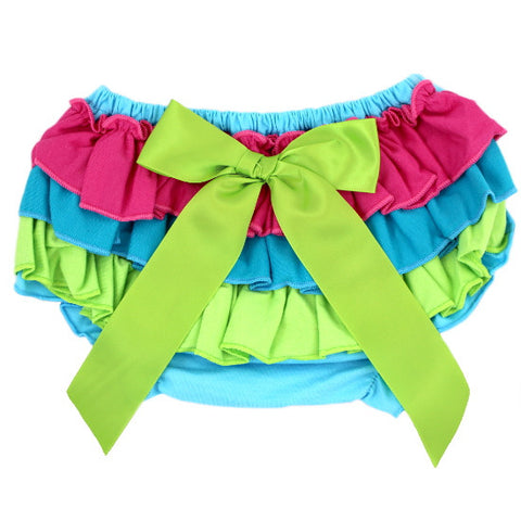 Hot Pink, Lime, & Turquoise Cotton Baby Bloomer