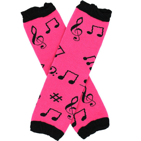 Hot Pink and Black Musical Notes Baby Leg Warmers