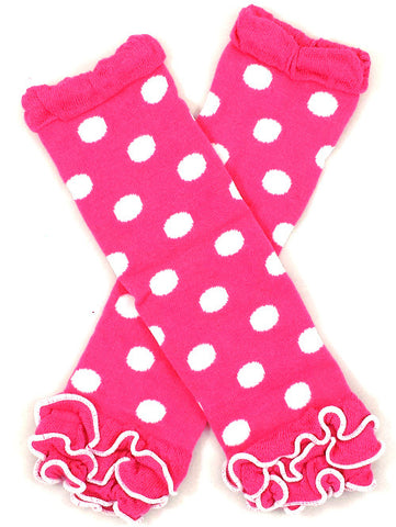 Hot Pink Polkadot Ruffled Baby Leg Warmers