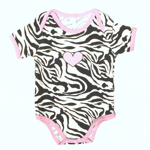 Zebra Print Baby Romper with Pink Heart Detail