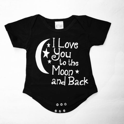 """I Love You to the Moon and Back"" Short-Sleeve Baby Romper in Black"