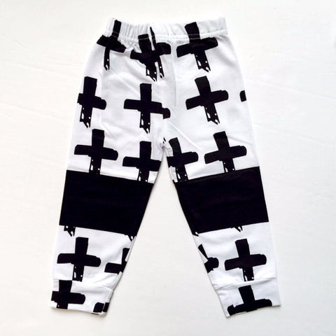 Black and White Cross Print Baby Pants