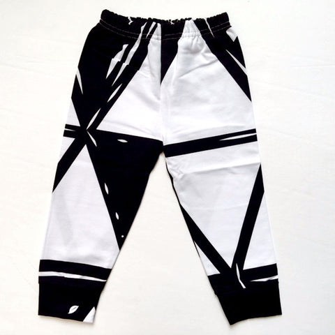 Black and White Geometric Print Baby Pants