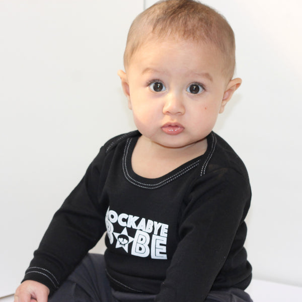 RockaBye Babe Long-Sleeve Black Baby Tee