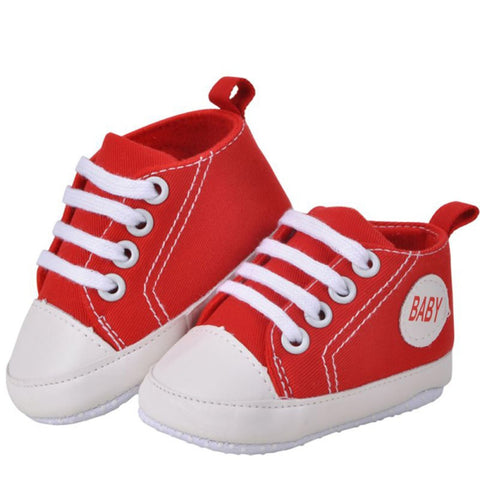 Lace-Up Canvas High Top Baby Sneakers