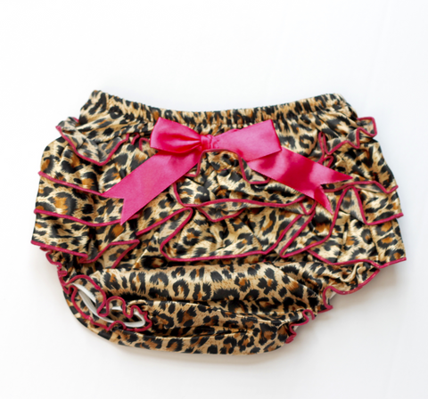 Satin Leopard Ruffle Baby Bloomers with hot pink ribbon and trim - Back