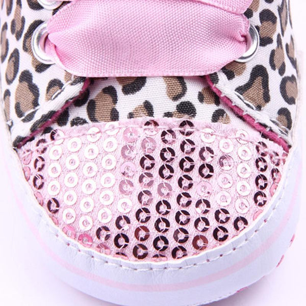 Leopard Sequin Soft Sole Baby Sneakers