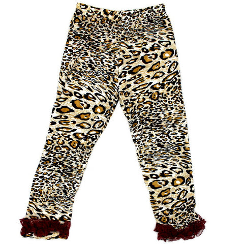 Leopard Print Ruffled Baby Leggings