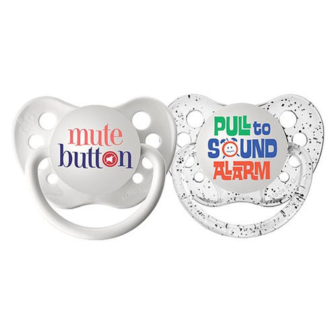 Mute Button + Pull to Sound Alarm Rock Star Pacifier Set with Jewel Case