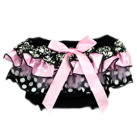 Baby Pink and Black Polkadot Damask Tulle Baby Bloomer