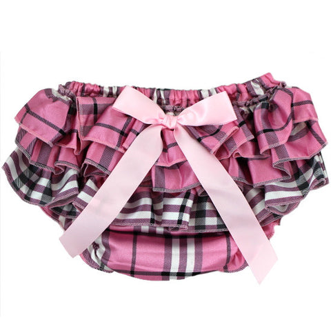 Pink Plaid Satin Baby Bloomer