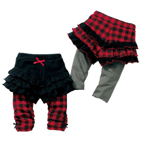 Red Plaid Casual Cotton Girls Skirted Leggings