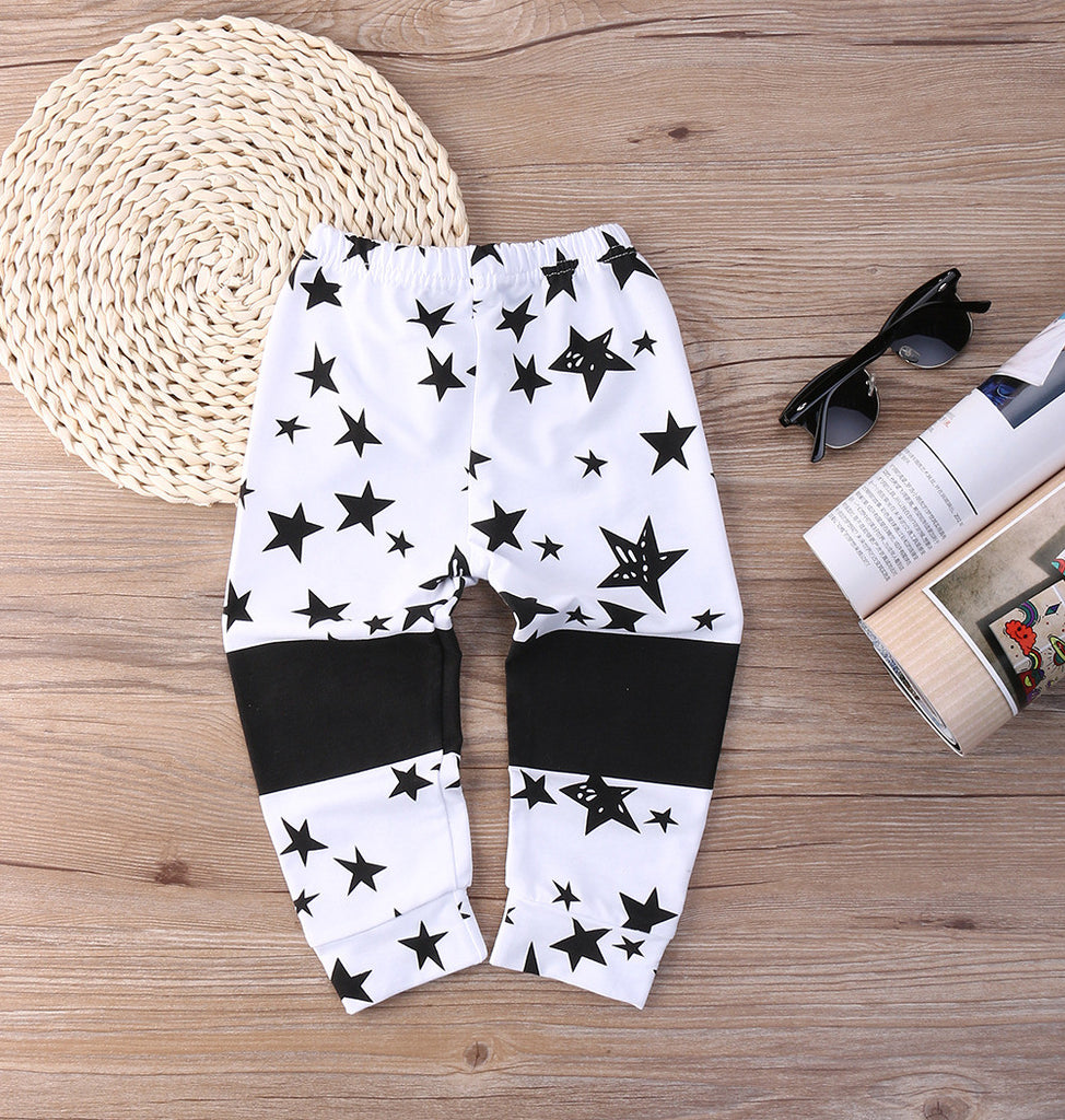 Black and White Stars Baby Pants