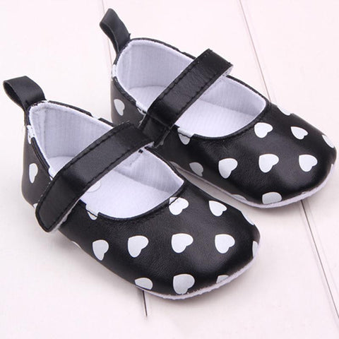 White Hearts Mary Jane Style Soft Sole Baby Crib Shoes