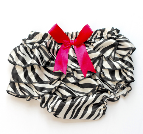 Satin Zebra Ruffle Baby Bloomers with hot pink ribbon and black trim - Back